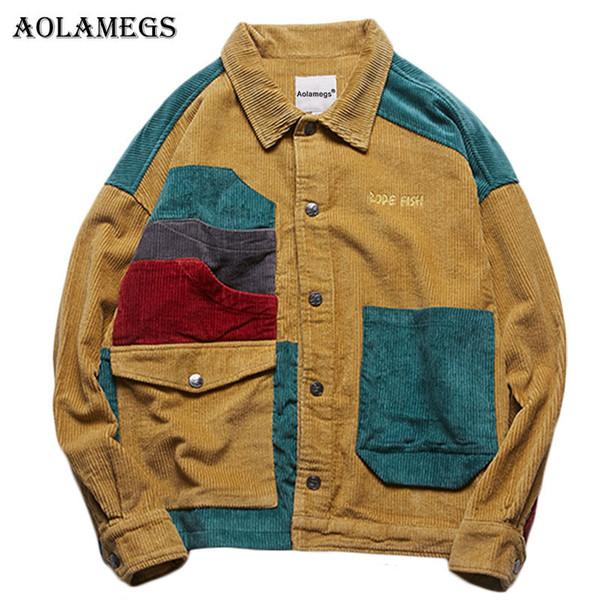 Chaqueta de los hombres de la chaqueta de pana Aolamegs remiendo de los hombres embolsa Calle forman la capa de los hombres Outwear 2019 Streetwear otoño