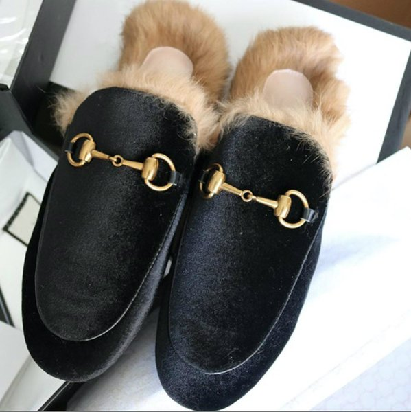 [Original Box] Ladies luxury fur mule slippers leather flat Suede shoes Flower snake mule fashion outdoor slippers fall And Winter shoes re