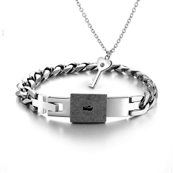 Diseñador de lujo de acero inoxidable para hombre pulseras cerradura collar de mujer conjunto de llaves hombre cadena brazalete joyería de moda mejor regalo de vacaciones