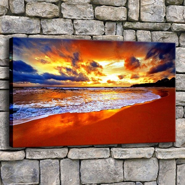 Wall Art Pictures Home Decor Frame 1 Piece Pretty Beach Nature Painting Living Room Canvas Print Sunset Sea Wave Tropical Poster