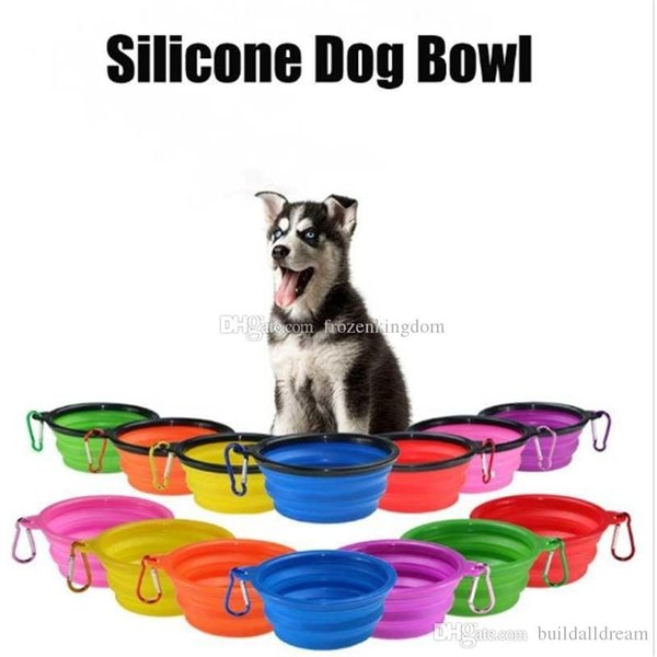 Silicone Folding Dog Feeding Bowl Collapsible Cats Water Dish Cat Portable Feeder Puppy Travel Bowls 8 Colors 2018122706