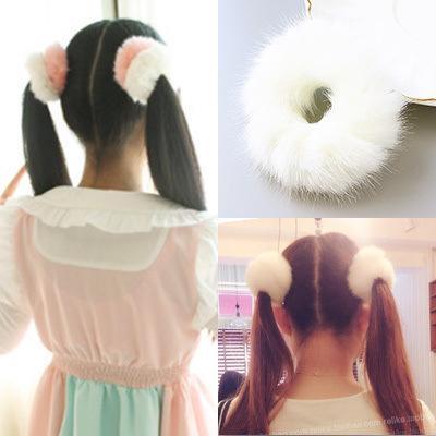Nachgemachtes Kaninchen-Haar-Gummiband für Mädchen-weiche Pelz-Pferdeschwanz-Halter-Frisur Elasic Haarbänder Scrunchies Ring 2pcs / lot