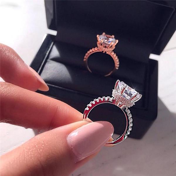 Noivado deslumbrante Crown Promise Ring 925 prata 3CT CZ diamante de casamento Anéis de banda por Mulheres festa de jóias
