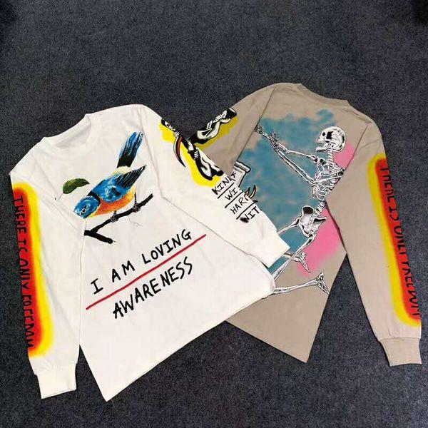 KANYE WEST WES LANG CAMISETA DE GRAN TAMAÑO Pájaro pintado a mano graffiti cráneo Camiseta de manga larga HIP HOP Hombre Mujer Alta Calidad Streetwear T-shirtv