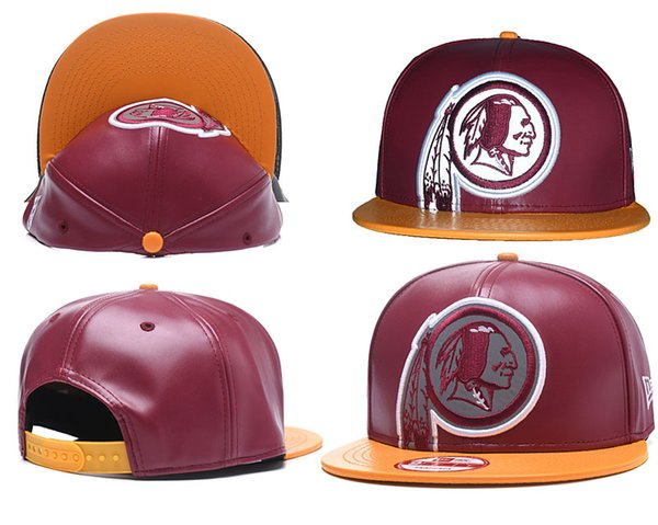 super popular 5c90e 86aa1 2019 Top Quality Bordeaux Color Redskins Leather brand Cap for Men Women  All Teams Gorras Snapback