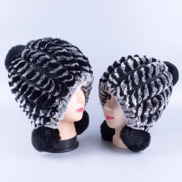 kids 45-55cm,mother 56-59cm Parent-child hat Rex rabbit fur ladies winter warm Korean fashion wool Baotou rabbit fur h
