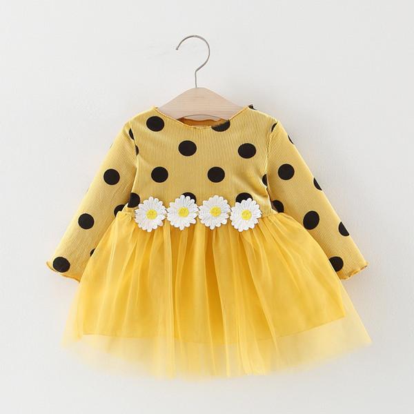 xuelanghu130 / Autumn Baby Dress manga comprida infantil Traje da criança meninas Princesa Vestidos Polka Dot Daisy bebê Moda Vestuário Meninas