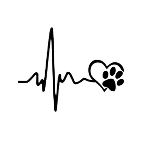 Heartbeat Love Dog Paw Footprint Bumper Window Vinyl Sticker Decal Vinyl Hobby Car Bumper Sticker 13CM x 10.3CM