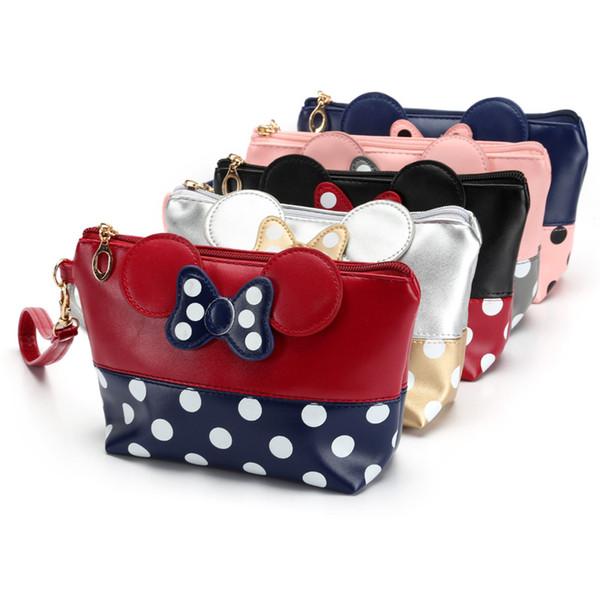European and American models AliExpress explosions cosmetic bag polka dot bow clutch bag cartoon handbag