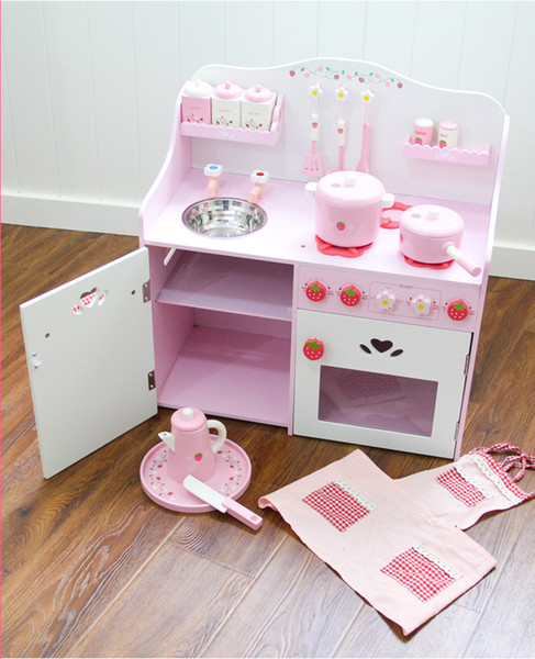 Children's Overall Cabinet Pretend Cooking Toys Kids Wooden Kitchen Play Set With Apron ,Slice, Condiment Dispenser
