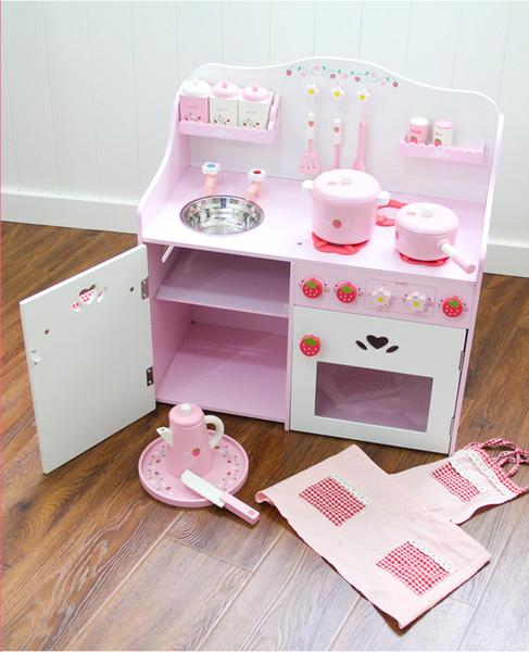 En general, los niños Gabinete Finge Cocina de madera juguetes para niños Juego de cocina conjunto con delantal, Loncha, Aderezo dispensador