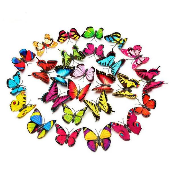 Atacado 3d borboleta adesivo de parede decoração do quarto na parede para a decoração da casa diy borboletas imã de geladeira adesivos decoração do quarto