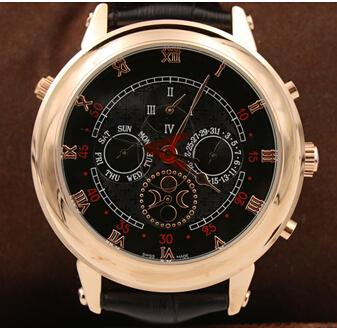 Top High Quality New Men's Automatic Watch Sky Moon Sport Style Double Face Leather Men Watches Wristwatch free shipping