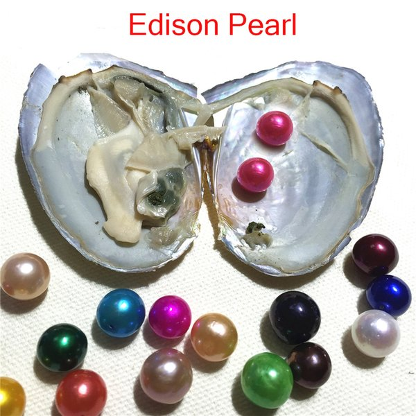 Free shipping 15PCS Mix Colors Near Round Freshwater Edison Twins Pearl In Oyster With Individual Vacuum package DIY Surprise Gift Pearl