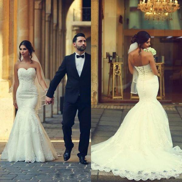 Vintage 2018 Trompete Vestidos de Noiva Espartilho Querida Decote Lace-up Voltar Marfim Lace Fit e Flare Vestidos de Noiva