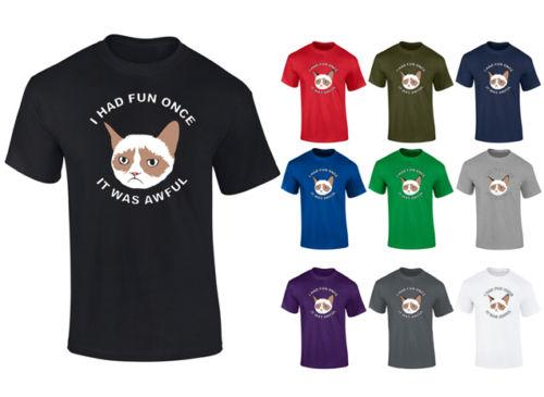 Mens Grumpy Cat I Had Fun Once It Was Awful T-shirt S-XXL Funny free shipping Unisex Casual