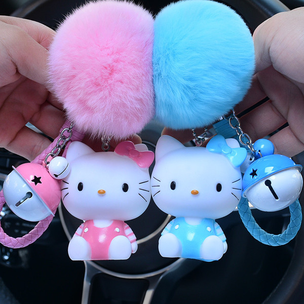 Cute Hello Kitty Keychain Women Leather Rope Key Chain Bag Charm Fur Ball Pom Pom Key Ring Car Chains Holder Pendant