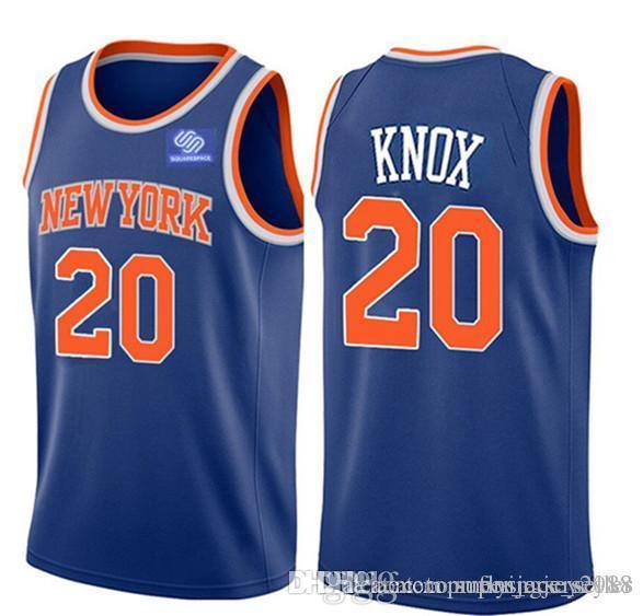 99b63986a Knicks Kevin 20 Knox Allonzo 14 Trier Kristaps 6 Porzingis Jersey New York  Knick White Blue City Basketball Jerseys Embroidery Logos