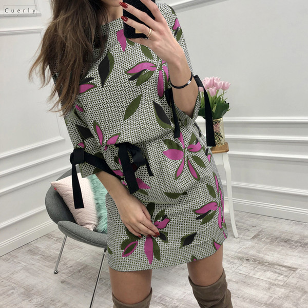 Floral Women Dress O Neck Summer Printed Dresses Girl Sweet Bow Kawaii Mini Sundress Femme Dress Beach Boho Designer Clothes