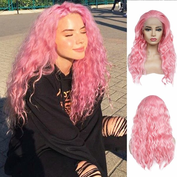 Beautiful Pink Color Long Curly Wavy Hair 180% Density Heat Resistant Synthetic Lace Front Wig Baby Hair Cosplay Sexy Wigs for Black Women
