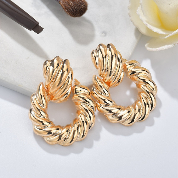 2019 new design metal gold silver geometric round circle twisted drop earrings for women girl party wedding jewelry brincos gift