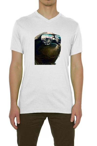Sloth All I See Is Money Occhiali da sole T-shirt da uomo scollo a V bianco (S-XXL) Divertente spedizione gratuita Unisex Casual Tshirt