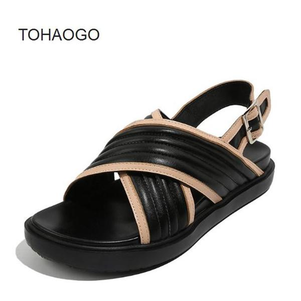 Sandales tout-aller Chaussures plates pour femmes Sangle croisée Bas épais pour l'été Chaussures pour femmes obuv sandales à bout ouvert