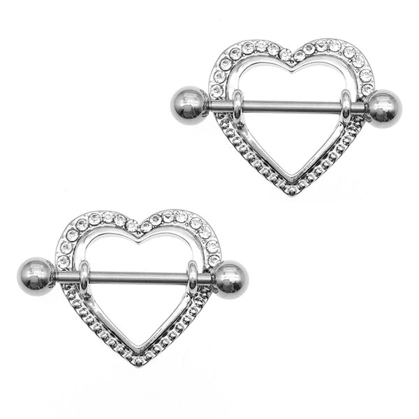 2pcs Fashion Barbell Nipple Ring Piercing Bar Rings Jewelry Creative Punk Body Jewellery High Quality Crystal Heart Rings Women