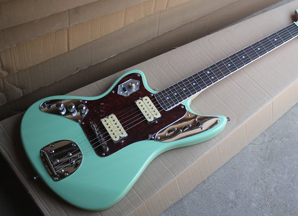 ¡Envío gratis! Venta al por mayor de zurdo verde guitarra eléctrica con Pickguard tortuga roja, HH Pickups, diapasón de palisandro 0418