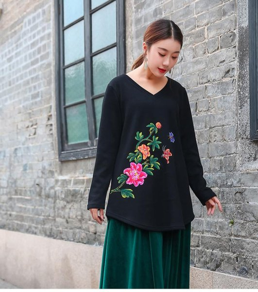 china style hand painted comfortable cotton t shirt v neck loose fit traditional warm fleece flare  a-line tees plus size 4x