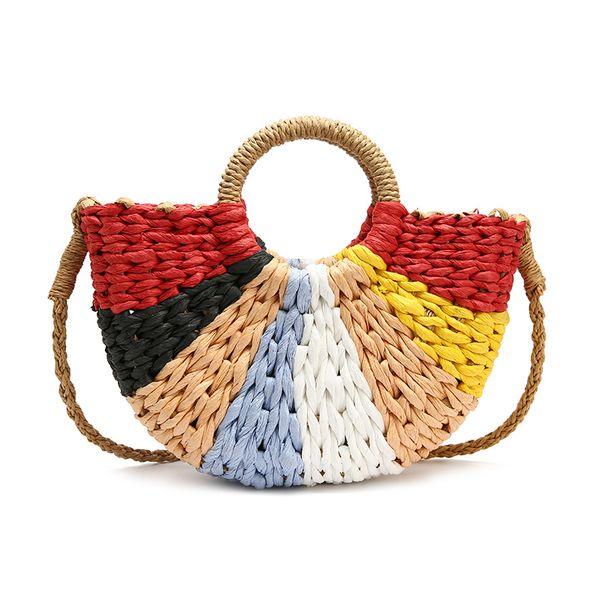 New Handmade Rattan Woven Round Hand Knitting Handbag Fashion Straw Bag Rope Knitted Casual Shoulder Bag Summer Large Beach Tote