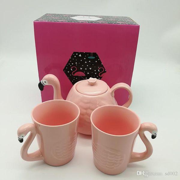 Pink Flamingo Mug Anzug Keramik Wasser Tasse Teekanne Coffeware Sets Tumbler Vogel Kopfform Griff Kaffeekanne Heißer Verkauf 32swb1