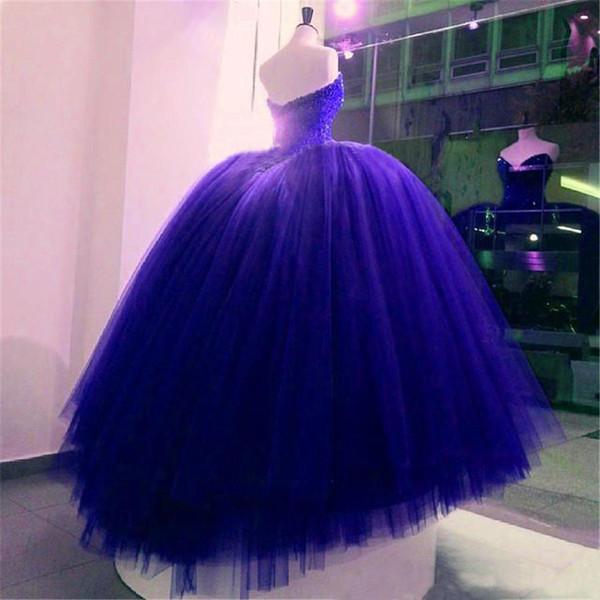 Completamente sfera Abiti in rilievo di cristallo corpetto corsetto Royal Blue Wedding Gowns misura fatto lucido abito da sposa vestido longo de Renda