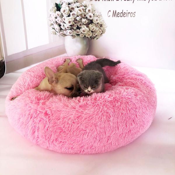 Hundenest Katzennest Runde, langhaarige südkoreanische Daunennest-Katzenmatratze für kleine, mittelgroße Hunde Haustierbetten Zubehör Hundematten 35