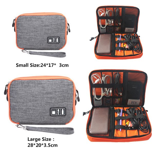 wholesale Waterproof Double Layer Cable Storage Boxes Electronic Organizer Gadget Travel Box USB Earphone Case Digital