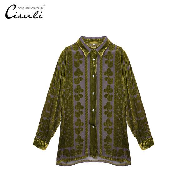 Silk Velvet Shirt Silk Woman Shirt Coat Woman Tops and Blouses Velvet New For Ladies Elegant Lace Blouses Free Shipping