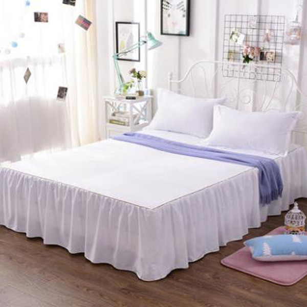 Cotton Solid Color Bed Skirts Pillowcase bed sheet bedding set Lace Bed skirt,mattress cover,ruffled Bedspread hotel