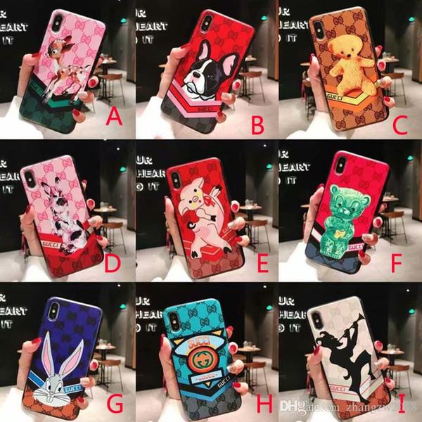 novo design da marca impressa cão porco urso coelho caso do telefone móvel coverfor iphone Xs max X Xr 7 7plus 8 8plus 6 6plus