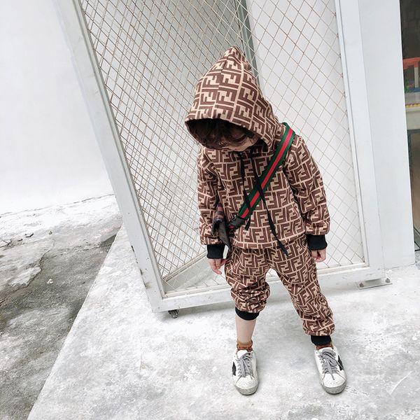 Crianças Conjuntos de Roupas de Grife De Luxo Impressão fatos de Treino Carta Moda FF Moletom Com Capuz + Corredores Meninos Meninas Infantis Casuais Hip Hop Soprtwear