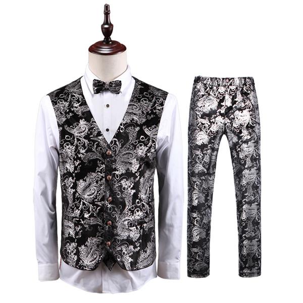 Высокое качество серебро мужчины жилет и брюки свадьба жилет мужчины брюки Азии размер S-5XL