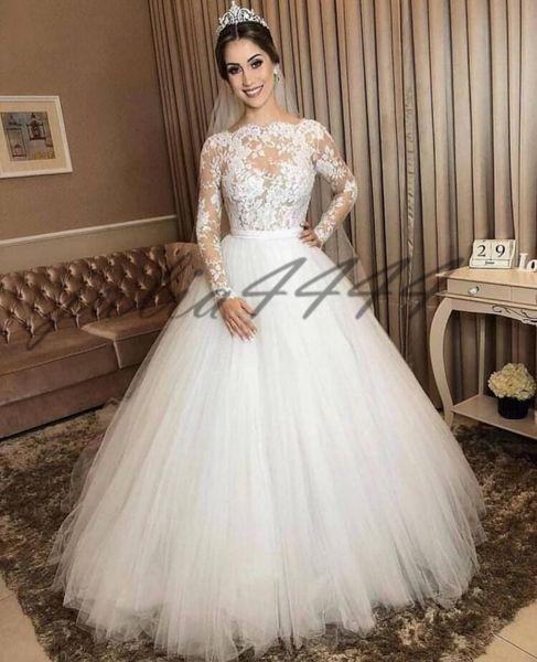 Acheter 2020 Robes De Mariée Blanche Magnifique Pure Cou Manches Longues  Bijou Sexy Dentelle Tulle Vintage Robes De Mariée Robe De Mariage De  $126.64