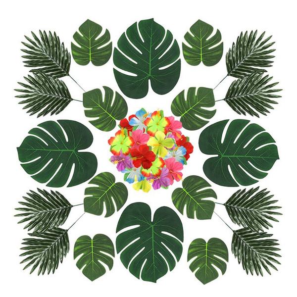 New-60Pcs 3 Arten Künstliche Turtle Back Leaves Tropische Blätter und Hibiskus-Blume Luau Party Ornament Set für Jungle Zoo Theme