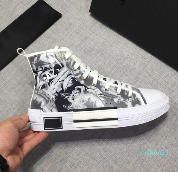best selling NEW 19SS Flowers Technical Canvas B23 High Top Oblique Casual shoes Mens luxury Designer signer Shoes Womens fashion casual Shoes size 36-45
