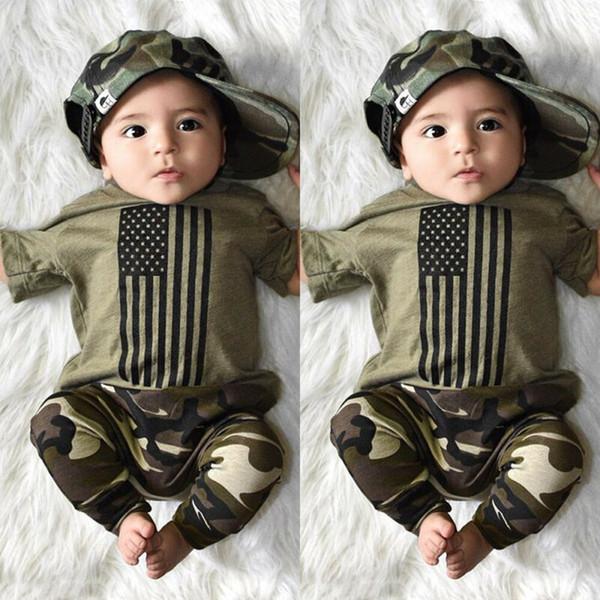 2019 newborn kids baby boy clothes striped t-shirt camo pants leggings summer outfit casual clothes set new 2pcs thumbnail