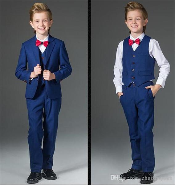 2018 Cheap Blue Boys Formal Wear Three Piece Notched Lapel Kids Wedding Tuxedos Custom Made Boys Suit (Jacket+Pants+Vest)