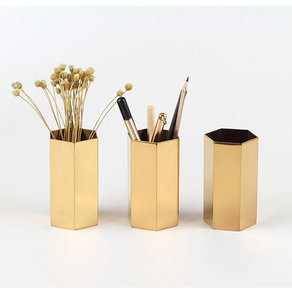 top popular Modern Gold Hexagonal Metal Pencil Holder Pen Pot Desk Organizer Accent Vase 2021