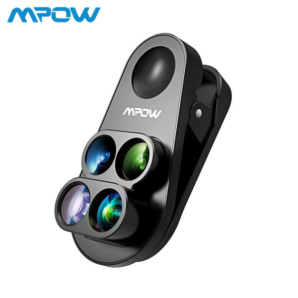Mpow 4 In 1 Clip-on Camera Dual Lens Kit 0.65x Wide Angle Fish Eye 10x Macro Lens 1.5x Telephoto Lens For Iphone 8 7 6 6s /plus J190704