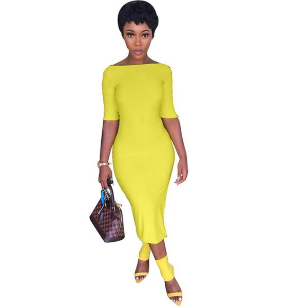 Slash Neck Summer Club Party Dress Women Yellow Half Sleeve Open Back Bodycon Dress Elegant Side Split High Waist Bandage Dress NB-1495