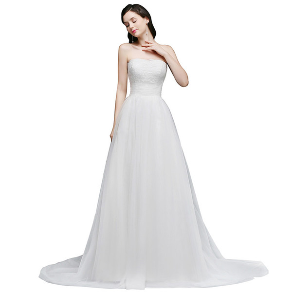 Cheap Summer Beach Bridal Gowns Sexy Backless With Buttons Wedding Dresses A-Line Strapless Boho Bride Robe de soriee CPS763