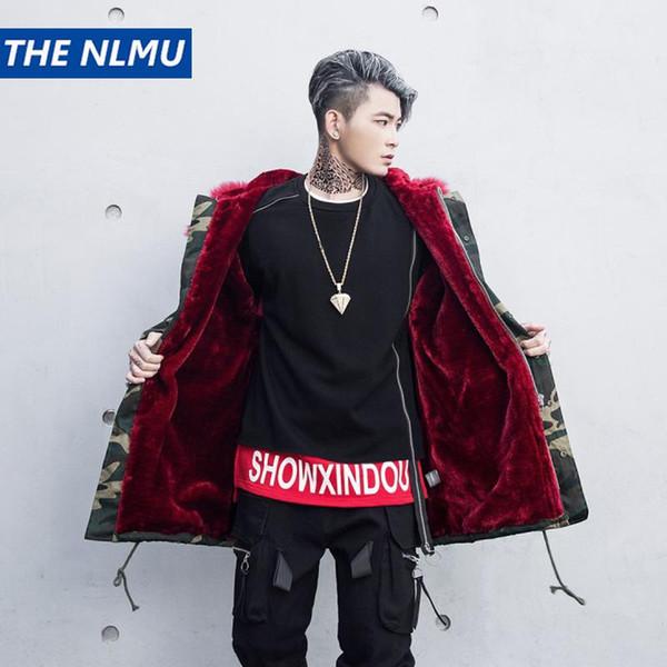 Harajuku inverno de lã grossa jaqueta Parkas homens encapuzados Big Fur Collar Camouflage Coats Parka Mens Hip Hop Streetwear WJ115